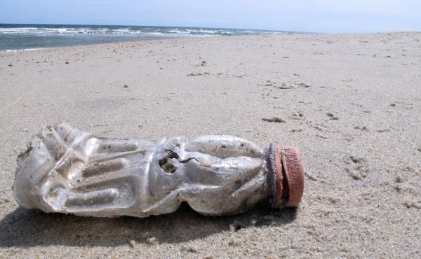 A discarded plastic bottle lies on the beach at Sandy Hook, N.J. Packaging is the largest source of the plastic waste that now blankets our planet.