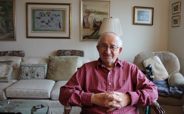 Sam Gottesman, 95, in his Squirrel Hill apartment in Pittsburgh. Gottesman survived the Holocaust, and eventually came to Pittsburgh.