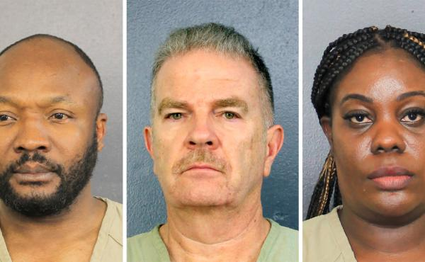 Sergo Colin (from left), Jorge Carballo and Althia Meggie, all former workers at the Rehabilitation Center at Hollywood Hills, in Florida, face multiple counts of aggravated manslaughter. Meggie and another nurse face additional charges related to tamperi