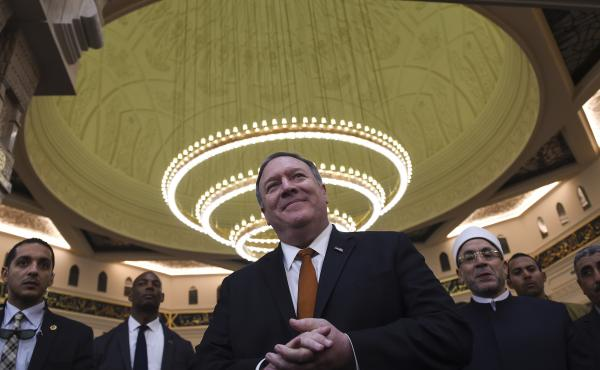 Secretary of State Mike Pompeo speaks to the press in the newly inaugurated Cathedral of the Nativity Christ, east of Cairo, on Thursday.