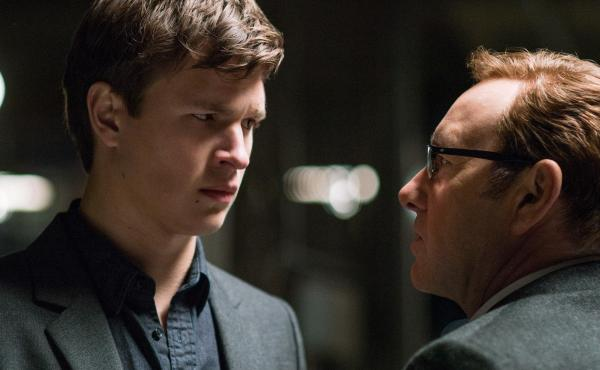 Baby (Ansel Elgort) looks dubious as Doc (Kevin Spacey) convinces him to do One! Last! Job! in Edgar Wright's Baby Driver.