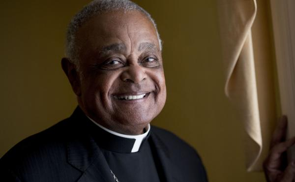 In this 2019 file photo, Washington D.C. Archbishop Wilton Gregory poses for a portrait following mass at St. Augustine Church in Washington. Pope Francis has named Gregory among 13 new cardinals.