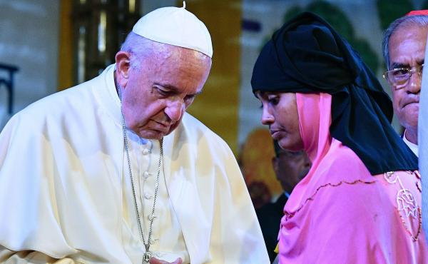 Pope Francis meets with a Rohingya refugee at the archbishop's residence in Dhaka. Pope Francis arrived in Bangladesh from Myanmar, the second stage of a visit that has been dominated by the plight of hundreds of thousands of Rohingya refugees.