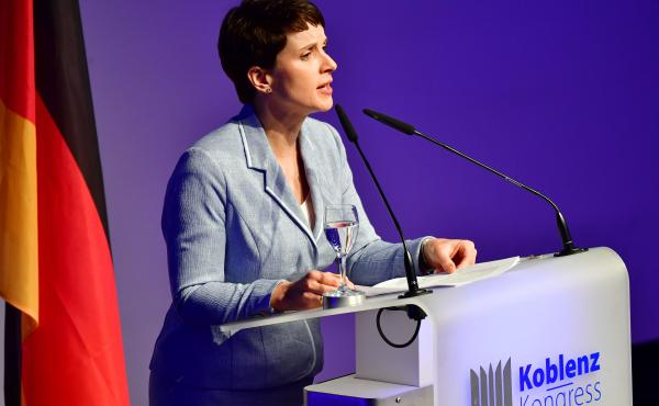 Frauke Petry, leader of the Alternative für Deutschland (AfD) political party, speaks at a conference of European right-wing parties on January 21 in Koblenz, Germany.