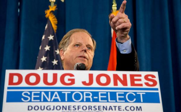 Senator-elect Doug Jones, D-Ala., speaks to the press last week after his win in the Alabama special election.