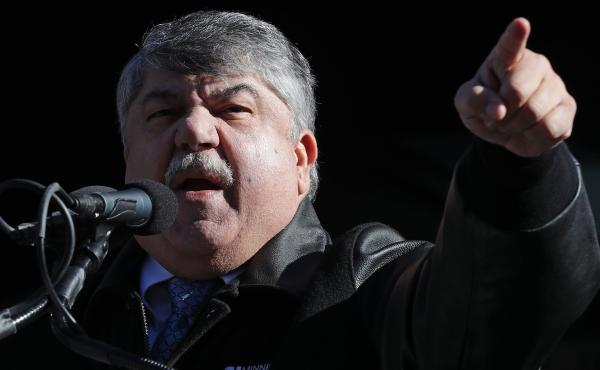 AFL-CIO leader Richard Trumka addresses a 2019 rally in Washington, D.C. He had been president of the federation since 2009.
