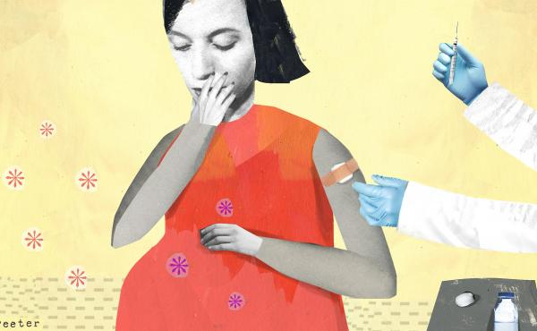"""The American College of Obstetricians and Gynecologists calls the flu vaccine an """"essential"""" part of prenatal care, for protection of the newborn as well as the woman. Infants typically don't get their own flu shot until age 6 months or later."""