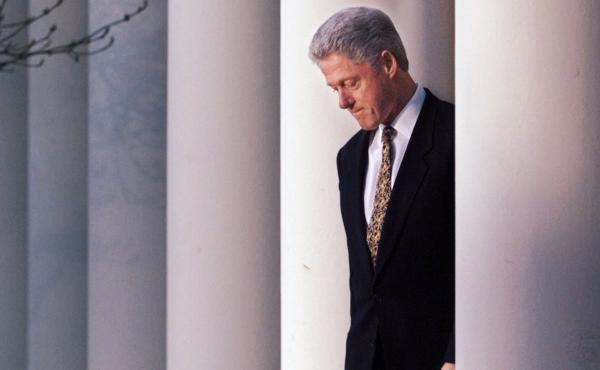 President Clinton in the Rose Garden of the White House on Dec. 11, 1998, before delivering a statement on the impeachment inquiry.