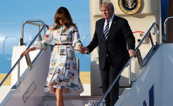 President Trump and first lady Melania arrive in Tokyo. North Korea and trade are expected to be on the weekend's agenda.
