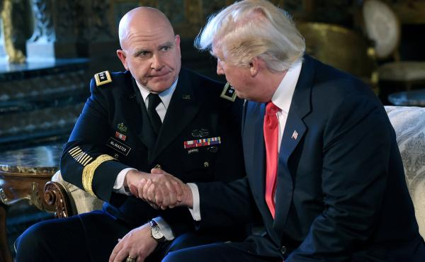 """President Donald Trump (right) shakes hands with Army Lt. Gen. H.R. McMaster at Trump's Mar-a-Lago estate in Palm Beach, Fla., on Monday. Trump called McMaster """"a man of tremendous talent and tremendous experience"""" as he announced that he would replace Mi"""