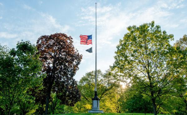 U.S. flags will fly at half-staff on federal and military posts through Sunday as President Trump orders a remembrance of the nearly 100,000 people who have died from COVID-19 in the U.S. Earlier this month, flags in the hard-hit state of New York flew at