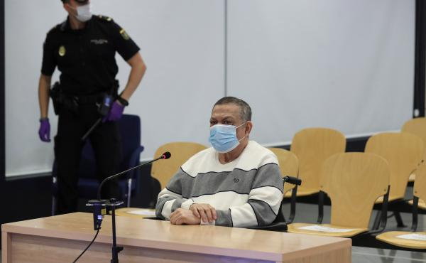 Former Salvadoran official Inocente Orlando Montano attends a trial in Madrid on June 8 for his alleged role in the killing of five Spanish priests in El Salvador in 1989.