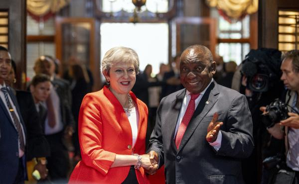 British Prime Minister Theresa May meets with South African President Cyril Ramaphosa in Cape Town, South Africa, during a three-nation visit to Africa. May has promised to boost Britain's investment in the continent.