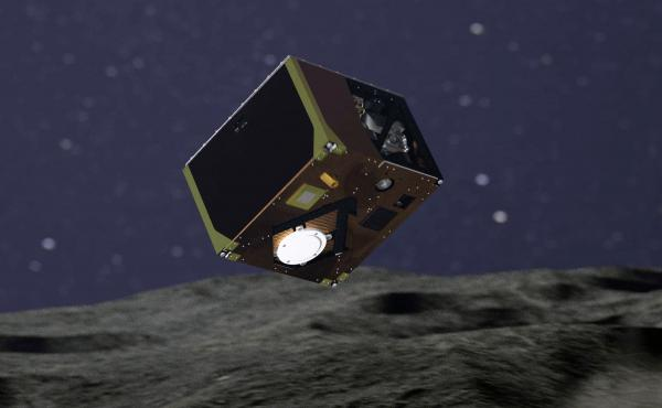 Roughly the size of a shoebox, the Mascot lander safely settled onto the surface of the Ryugu asteroid. It's seen here in an artist's rendering of the craft released by Germany's DLR aerospace agency.