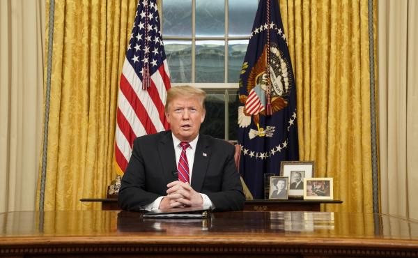 President Trump, pictured delivering his first prime-time address from the Oval Office on Jan. 8, hits the two-year mark of his presidency on Sunday.