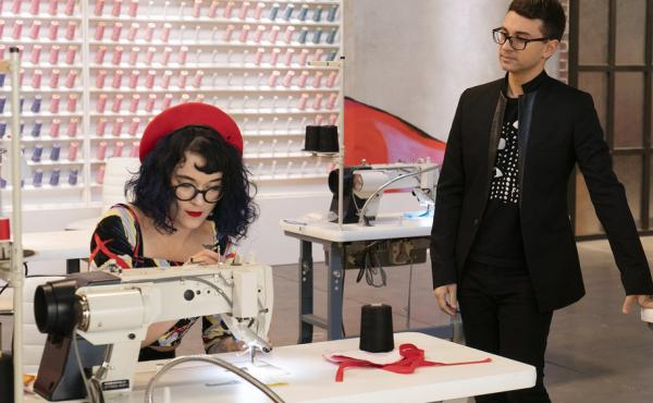 Christian Siriano watches over the work of Hester Sunshine on Project Runway.