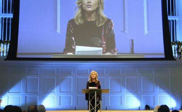 """""""I am still a Baptist, but I can no longer identify with Southern Baptists,"""" said Beth Moore, a prominent evangelical teacher and author, last week. Moore is seen here in 2018."""