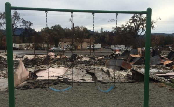A swing set is all that remains in the backyard of a house in Middletown, Calif., after a devastating wildfire. Birth certificates and marriage licenses were among the important things destroyed.