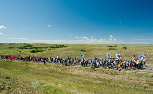 Protesters march to a construction site for the Dakota Access Pipeline in September.