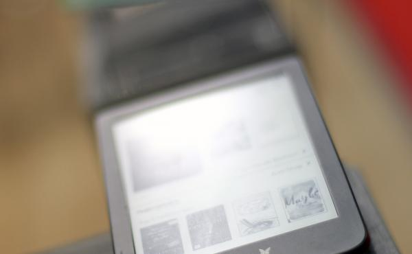 E-readers are lined up at the 2019 Frankfurt Book Fair in Germany.