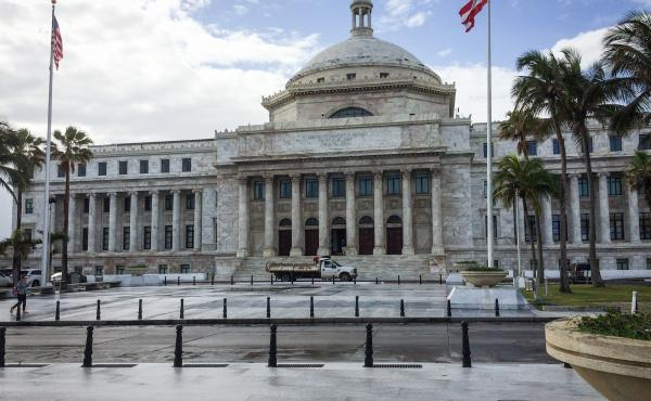 The Capitol of Puerto Rico, Capitolio de Puerto Rico, in San Juan. Puerto Rico is under federal control, but isn't allowed voting representation in Congress, and residents can't vote for president.