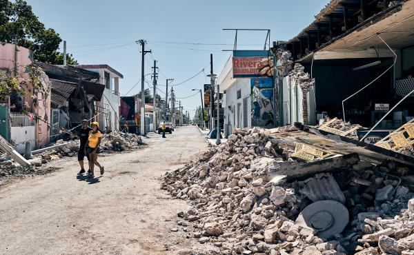 Businesses and homes were severely damaged in the town center of Guanica, Puerto Rico, after an earthquake on Tuesday. The quake, just the latest in a series of temblors to hit the region, crumbled walls and destroyed houses.