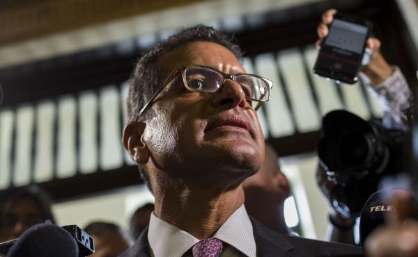 Appointed Secretary of State Pedro Pierluisi Urrutia arrives to the Senate, in San Juan, Puerto Rico, on Thursday.