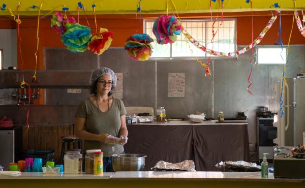 Nine days after the Hurricane Maria struck, Emilú De León and other volunteers opened a kitchen to serve meals to the people of Caguas. The first day, they fed 600, De León says.