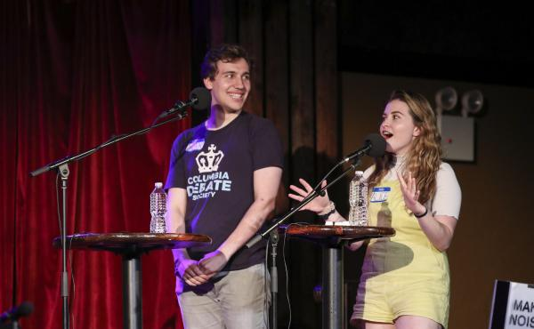 Contestants Max Neuman and Alice Kors appear on Ask Me Another at the Bell House in Brooklyn, New York.