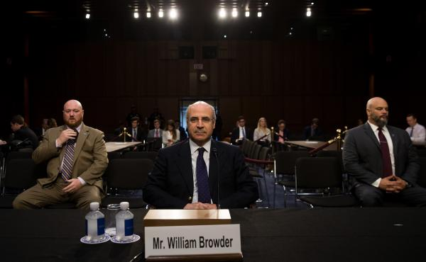 Bill Browder, chief executive officer of Hermitage Capital Management, takes his seat as he arrives for a Senate Judiciary Committee hearing in July.