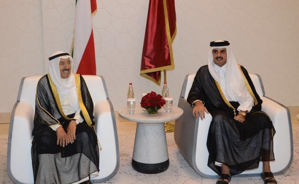 Kuwaiti Emir Sheikh Sabah Al Ahmad Al Jaber Al Sabah (left) met with Qatari Sheikh Tamim bin Hamad Al Thani in Doha, Qatar, earlier this month as the Kuwaiti leader tried to mediate an end to the regional crisis. But analysts warn there will be no quick o