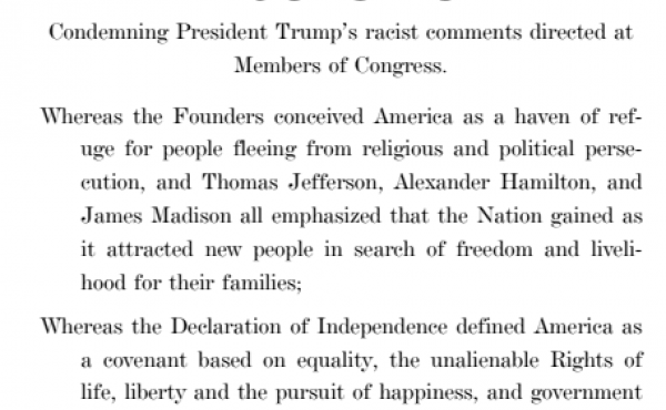 Text of a House resolution condemning remarks by President Trump about four members of Congress.
