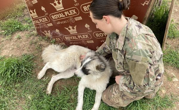 1st Lt. Shelby Koontz and Rumi meet after her overnight shift ends. They sit for a scratch session next to the dog house that the soldiers built for Rumi on base.