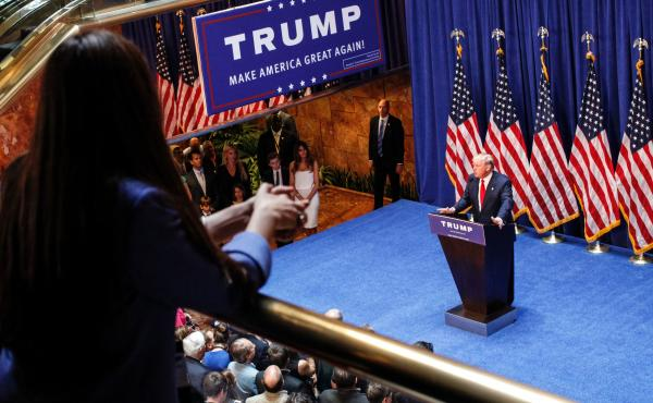 Now-President Donald Trump announcing his bid for the presidency in June 2015 at Trump Tower. The tone Trump set on immigration during the presidential campaign has been picked up by both Republican candidates running for governor in 2017.