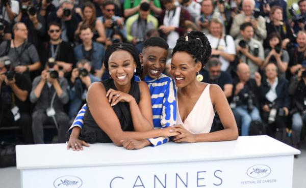 From left: Kenyan director Wanuri Kahiu and actors Samantha Mugatsia and Sheila Munyiva at the Cannes Film Festival.