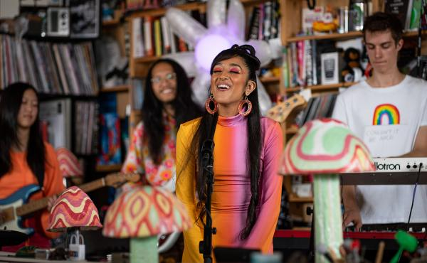 Raveena performs during a Tiny Desk concert, on Oct. 8, 2019.