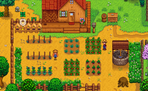 Life in 16 bits — complete with chickens and monsters — in Stardew Valley.