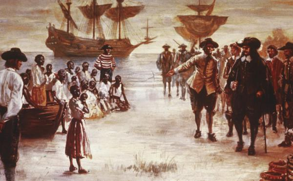 Engraving shows the arrival of a Dutch slave ship with a group of African slaves for sale, Jamestown, Va., 1619.