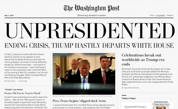 A screenshot of the online version of a satirical edition of The Washington Post distributed around Washington, D.C., by political activists Wednesday.