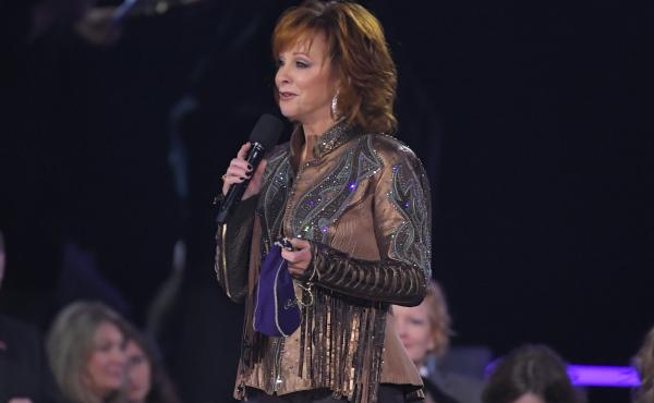 Reba McEntire appears at the Country Music Association Awards in 2019. The singer was rescued from a building in Oklahoma this week after a staircase collapsed.