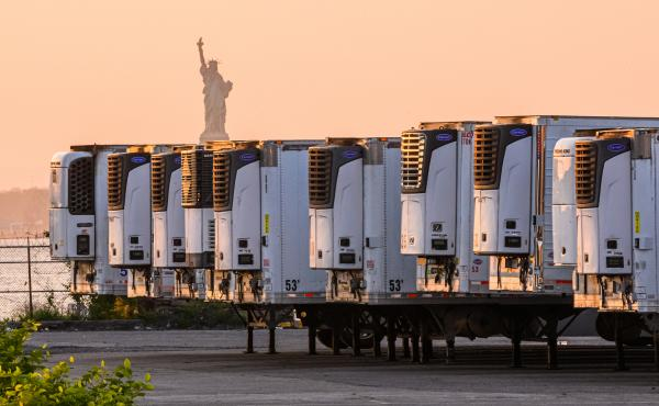 """The Statue of Liberty is visible behind refrigeration trucks that function as temporary morgues at New York City's South Brooklyn Marine Terminal. """"If you're driving by ... you might just assume that this was some sort of distribution hub,"""" Time reporter"""