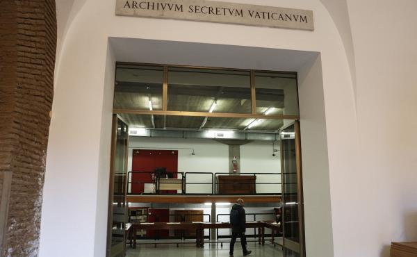"A marble plaque over the main entrance of the Vatican Archives reads in Latin ""Secret Vatican Archive."" The Vatican's library on Pope Pius XII and his record during the Holocaust opened to researchers in March."