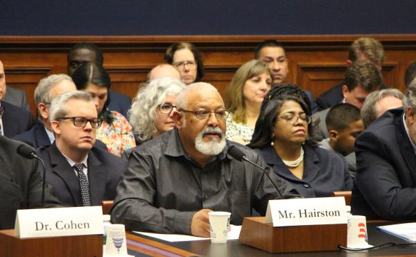 Gary Hairston, a coal miner for 27 years, spoke at the hearing. He has been diagnosed with Progressive Massive Fibrosis, the advanced stage of black lung disease.