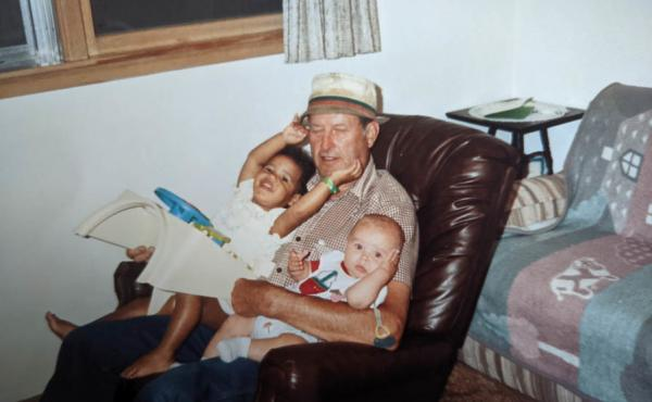 Harry Golomski with Libby Stroik (left) and one of her siblings in 1991.