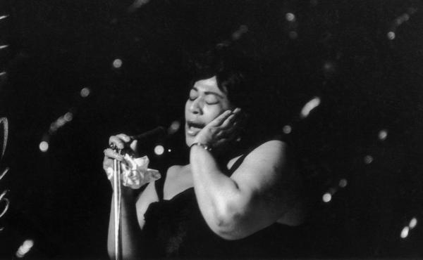 Ella Fitzgerald singing at the Hammersmith Odeon in 1963.