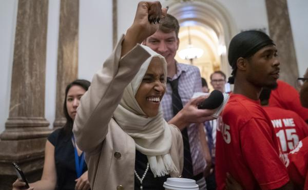 Rep. Ilhan Omar, shown here at the Capitol on Thursday, has been a target of racist rhetoric from President Trump .