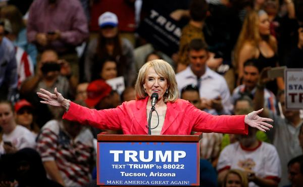 Former Arizona Gov. Jan Brewer, a Republican, speaks to a crowd of Donald Trump supporters at a Trump campaign rally in Tucson, Ariz., in 2016. Brewer sided with Arizona Democrats to expand Medicaid eligibility in the state under Obamacare.
