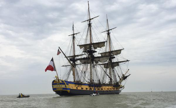 The Marquis de Lafayette sailed across the Atlantic to America aboard the original Hermione in 1780 and joined the American rebels in their struggle for independence from Great Britain. This replica will retrace his voyage; it's scheduled to arrive in Yor