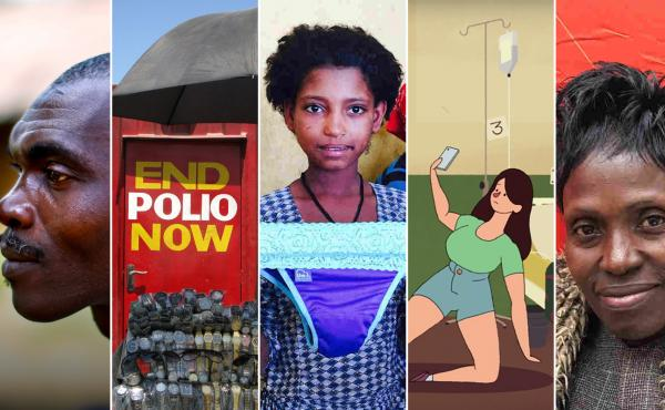 From left: Sekou Sheriff, of Barkedu village in Liberia, whose parents died at an Ebola treatment center; a polio vaccination booth in Pakistan; a schoolgirl in Ethiopia examines underwear with a pocket for a menstrual pad; an image from a video on the et