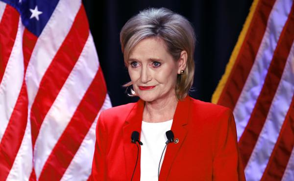 Sen. Cindy Hyde-Smith, R-Miss., seen at a debate with Democrat Mike Espy in Jackson, Miss., won a runoff election to hold her seat on Tuesday.